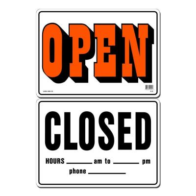 14 in. x 10 in. Open/Closed Sign Printed on More Durable, Thicker, Longer Lasting Styrene Plastic