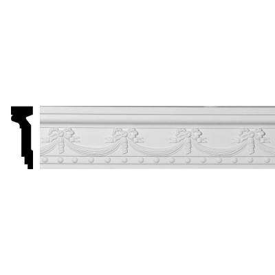 2 in. x 6-1/4 in. x 94-1/2 in. Polyurethane Federal Swag and Bow Chair Rail Moulding