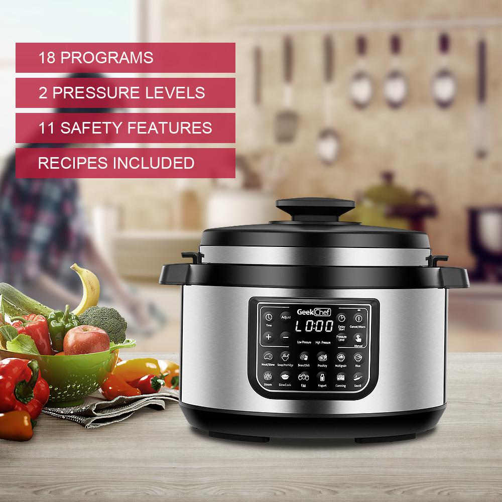 Geek Chef 11 In 1 Multi Function Oval 8 Qt Pressure Cooker