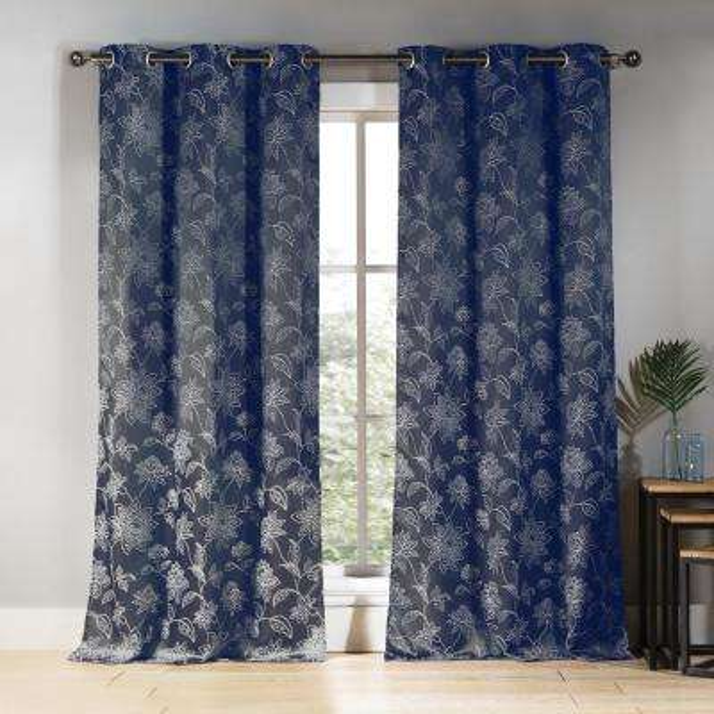 Sansa 38 in. W x 84 in. L Polyester Window Panel in Denim