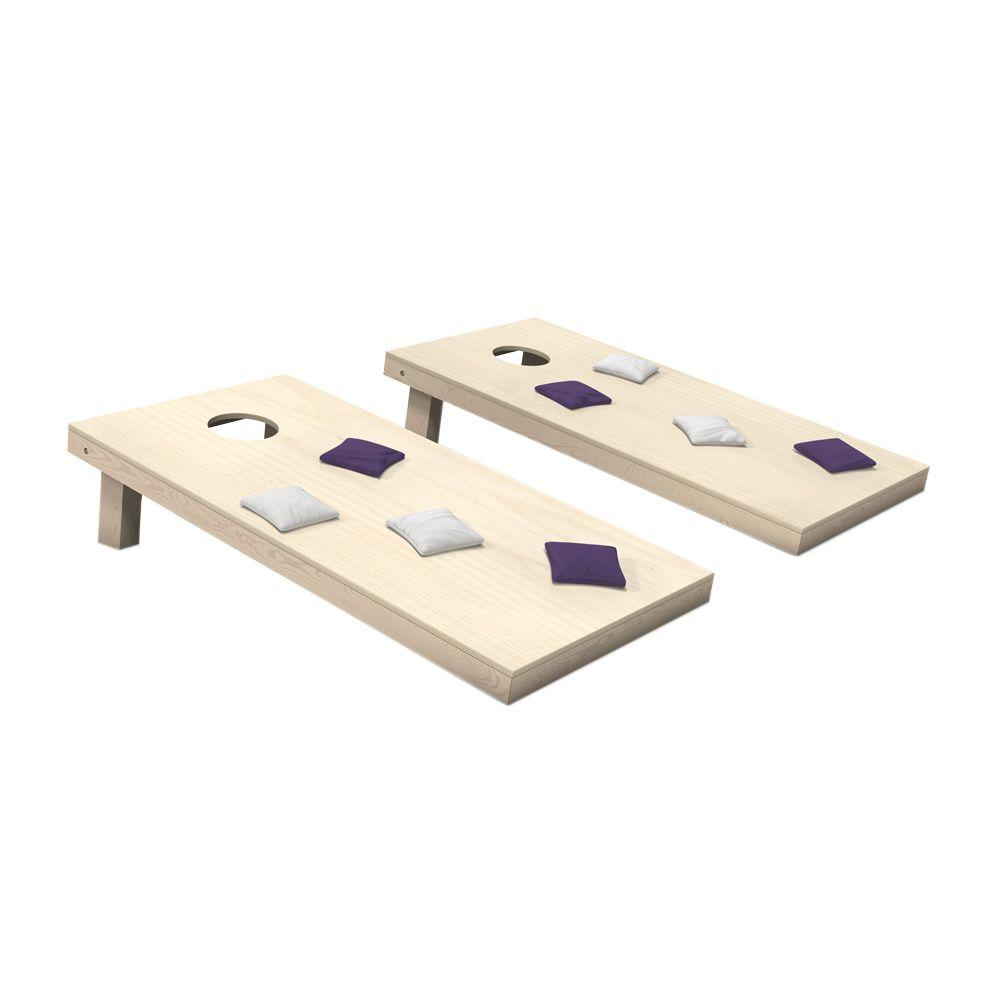 Wooden Cornhole Toss Game Set with Purple and White Bags
