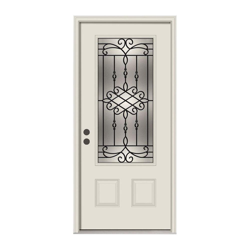 JELD-WEN 36 in. x 80 in. 3/4 Lite Sanibel Primed Steel Prehung Right-Hand Inswing Front Door w/Brickmould