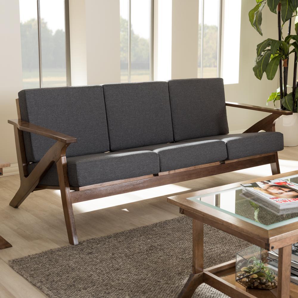 Baxton Studio Cayla Mid Century Gray Fabric Upholstered Sofa 28862
