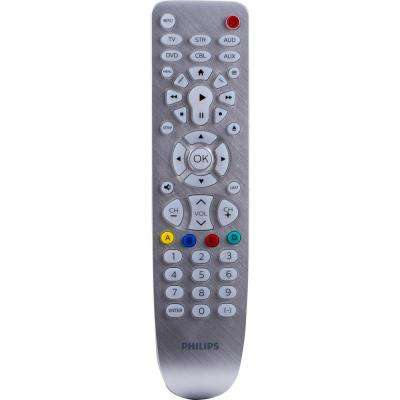6-Device Universal Remote Control, Silver Backlit Bright White LED
