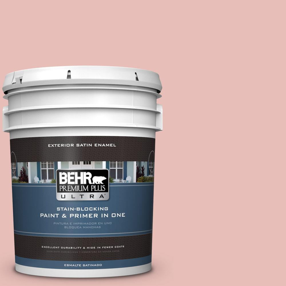 BEHR Premium Plus Ultra 5 gal. #T18-01 Positively Pink Satin Enamel ...