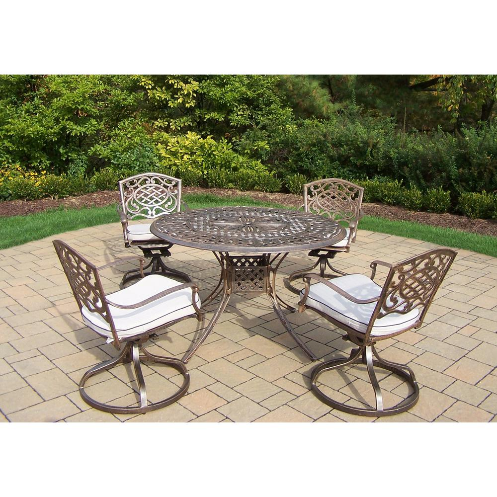 Bradley 5 piece outdoor dining set with oatmeal cushion