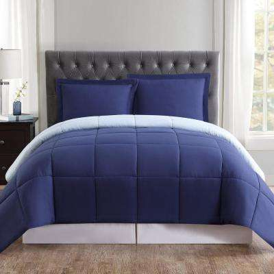Everyday Reversible Comforter Set 3-Piece Navy and Light Blue Full and Queen Comforter with 2 Shams