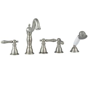 lyndhurst 3handle deckmount roman tub faucet with handheld shower in brushed nickel - Roman Tub Faucets