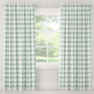 50 in. W x 120 in. L Blackout Curtain in Buffalo Square Mint