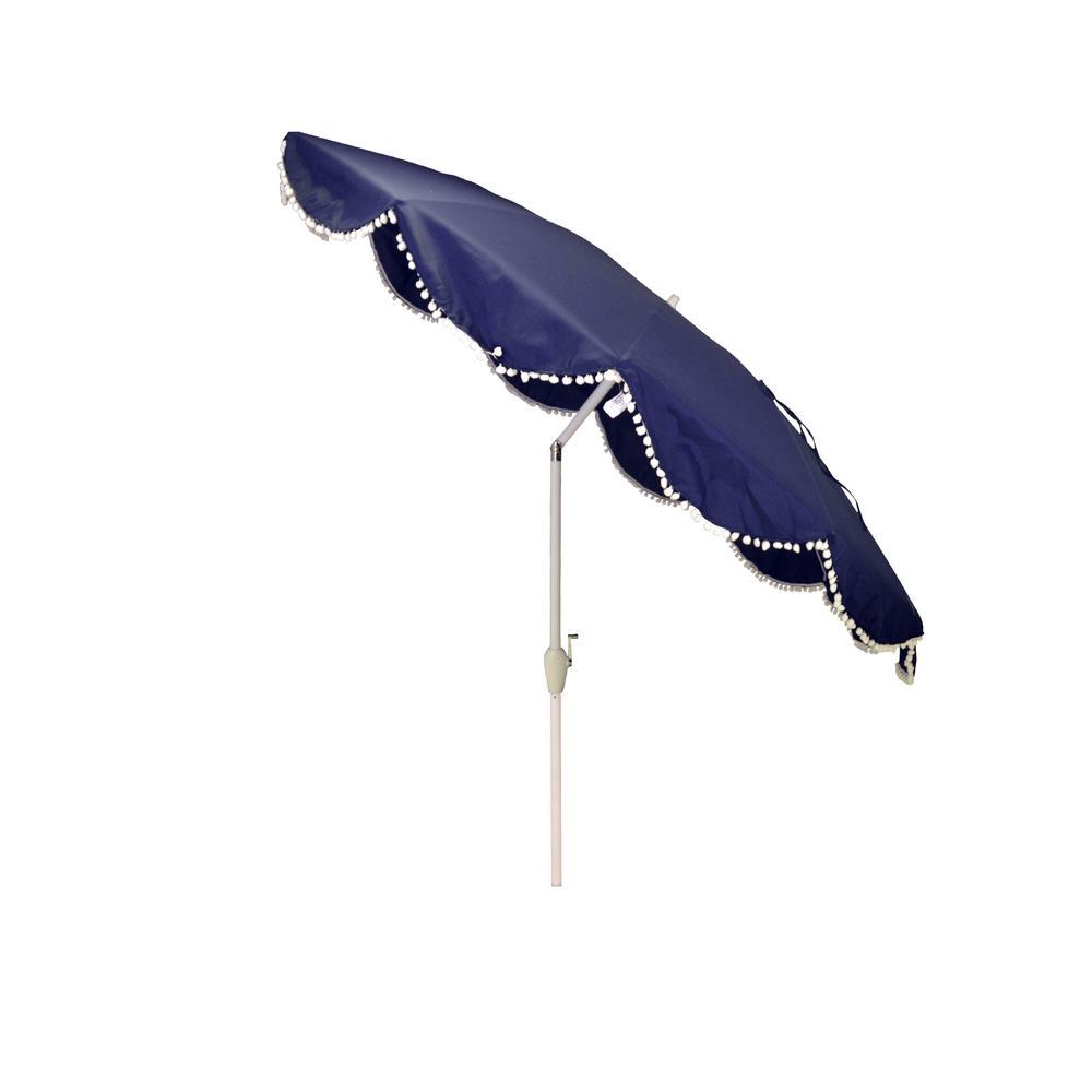 Hampton Bay 9 ft. Aluminum Market Patio Umbrella in Navy with Pom Poms