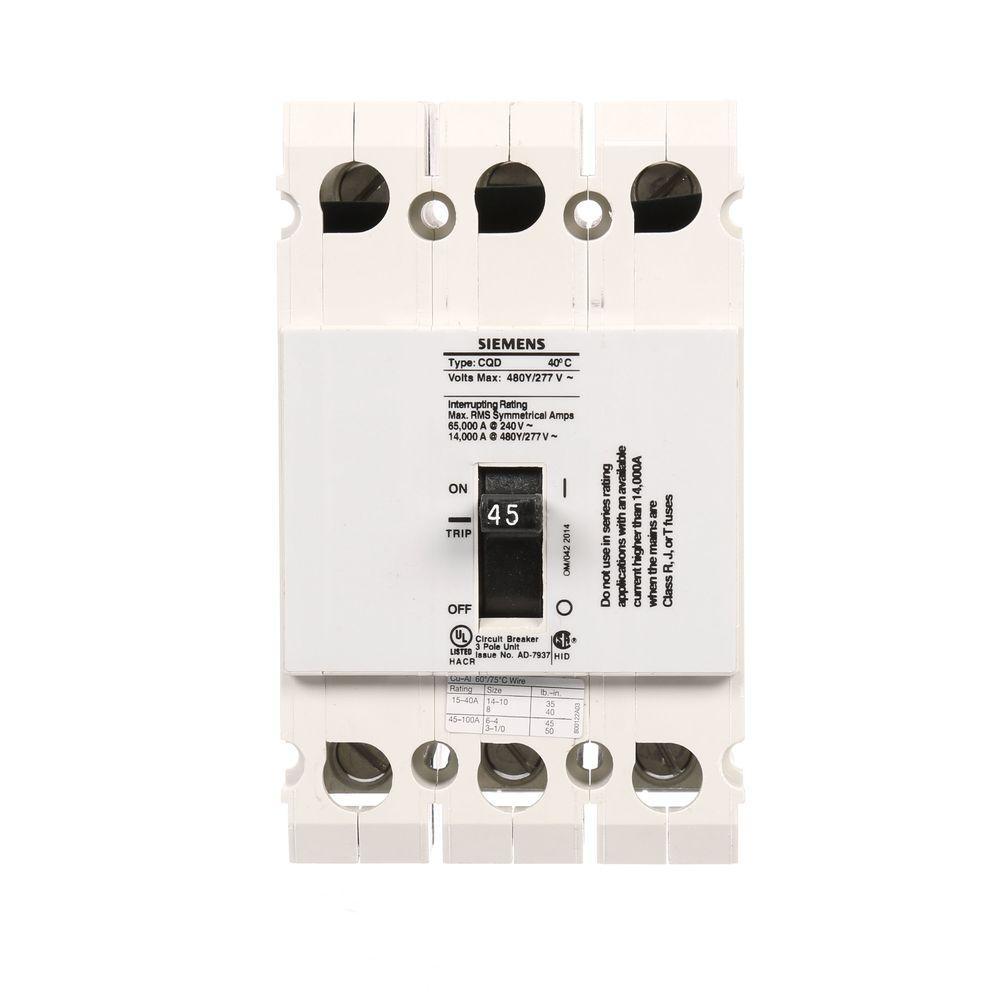 Siemens Din Rail Mounted Circuit Breaker Not Lossing Wiring Diagram Miniature 45 Amp Triple Pole Type Cqd 14 Ka Rh Homedepot Com Gfci Breakers In Enclosure