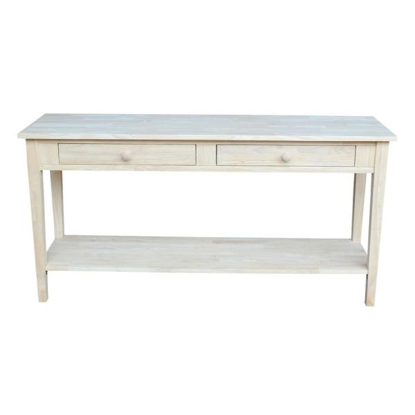 Spencer 48 in. Beige Standard Rectangle Wood Console Table with Drawers