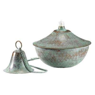 3 in. Blue Verde Copper Medium Oil Lamp