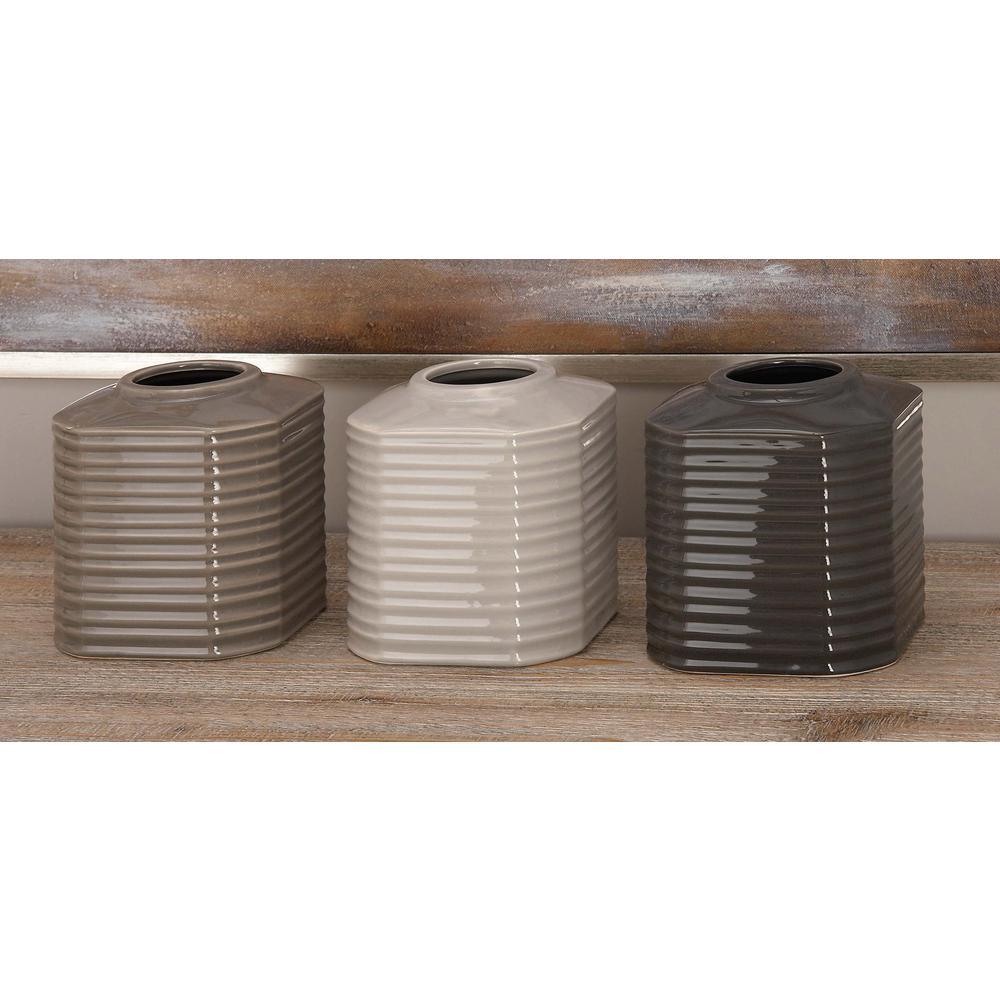 5 in ceramic decorative vases in black white and gray set of 3 ceramic decorative vases in black white and gray set of 3 87741 the home depot reviewsmspy