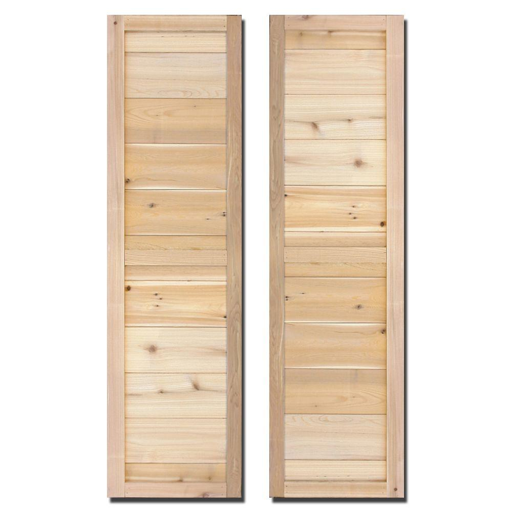 Design Craft MIllworks 15 in. x 60 in. Natural Cedar Board-N-Batten Porter Shutters Pair