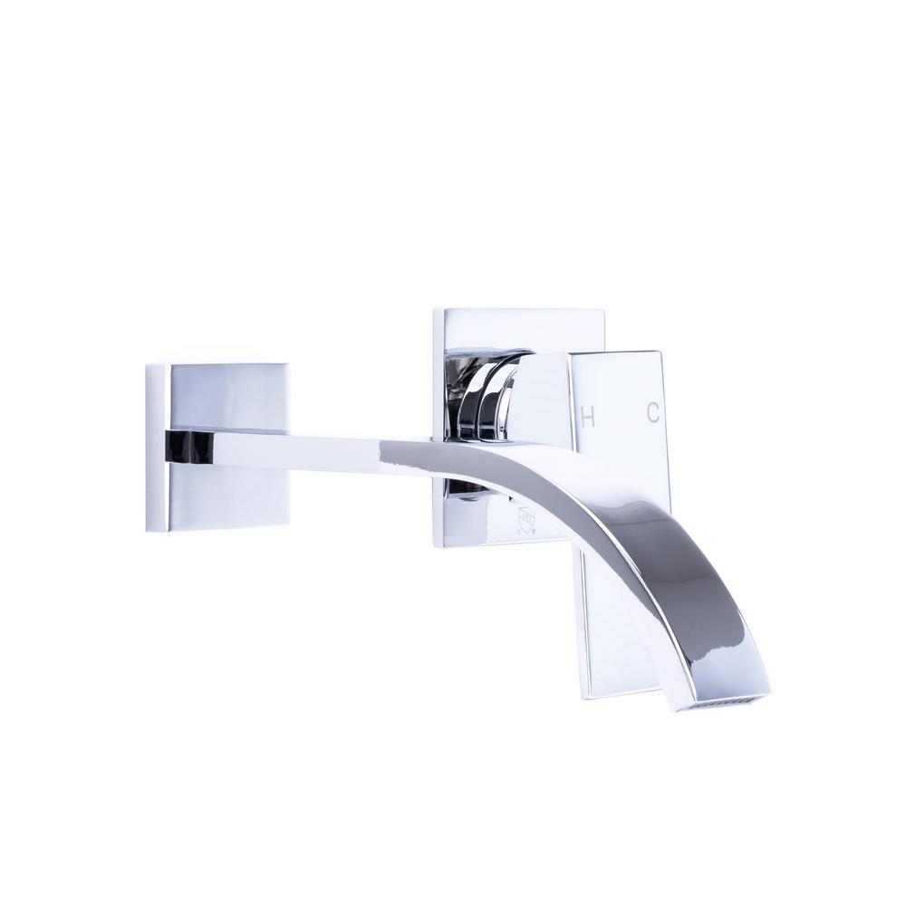 Single-Handle Wall Mount Bathroom Faucet with Modern ...