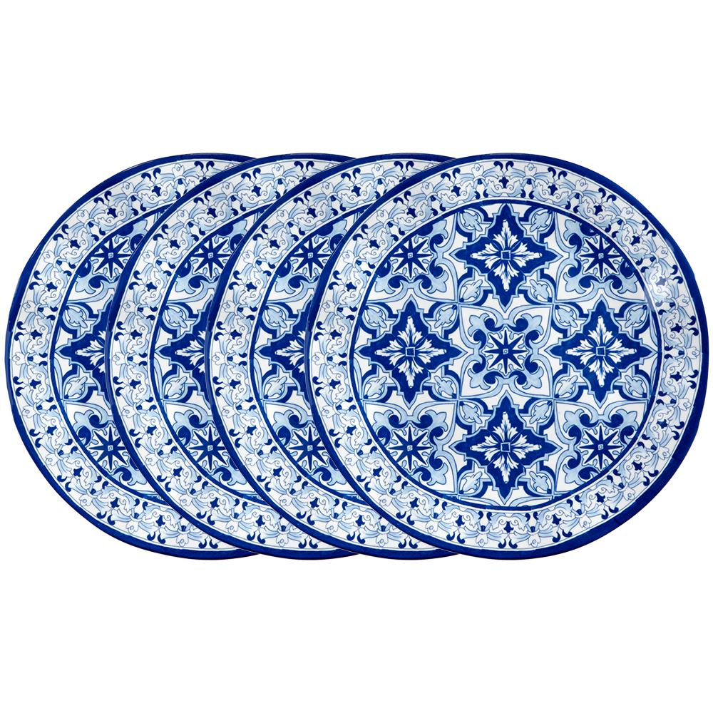 Talavera 4-Piece Traditional Blue Melamine Dinner Plate Set (Service for 4)