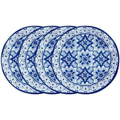 Talavera 4-Piece Blue Melamine Dinner Plate Set