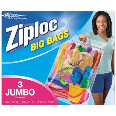 20 gal. XXL Plastic Storage Bag with Double Zipper 3-Bag (8-Pack)