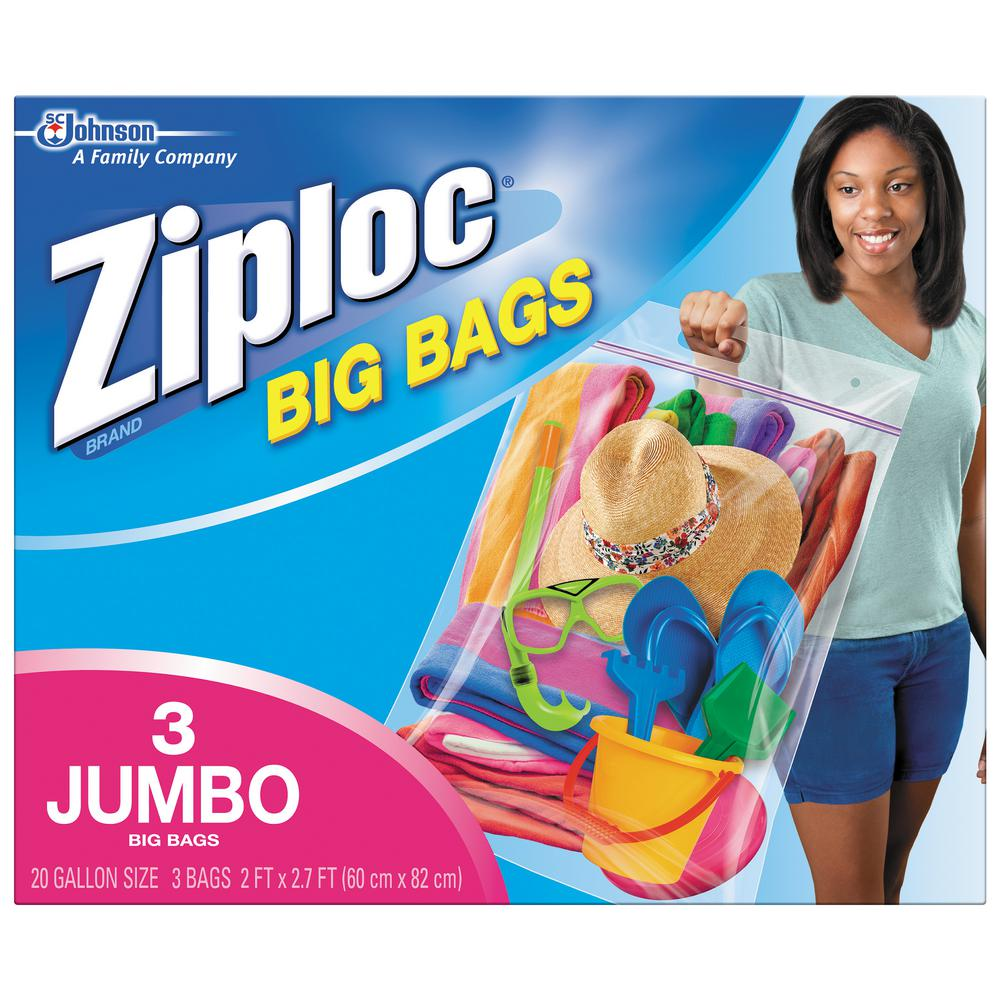 Ziploc 20 gal. XXL Plastic Storage Bag with Double Zipper 3-Bag (8-Pack), Clear Plastic Organize, protect and transport anything, anywhere. Get more out of the space in your home with Ziploc Brand Big Bags. They're the biggest, strongest, most versatile Ziploc Brand Bags ever created. Use them to store clothing, bedding, holiday decorations, sports equipment and more. No more clutter in the garage, the basement or the closet. Color: Clear Plastic.