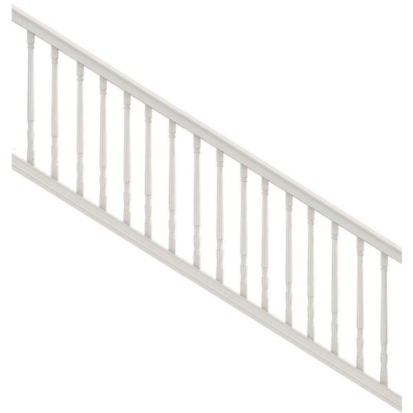 Premier Series 8 ft. x 36 in. White PolyComposite Stair Rail Kit with Colonial Balusters