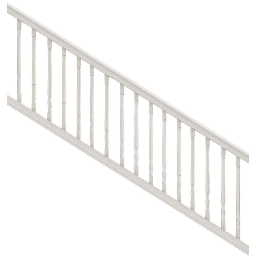 White Vinyl Stair Kit With Colonial Balusters 73013286   The Home Depot