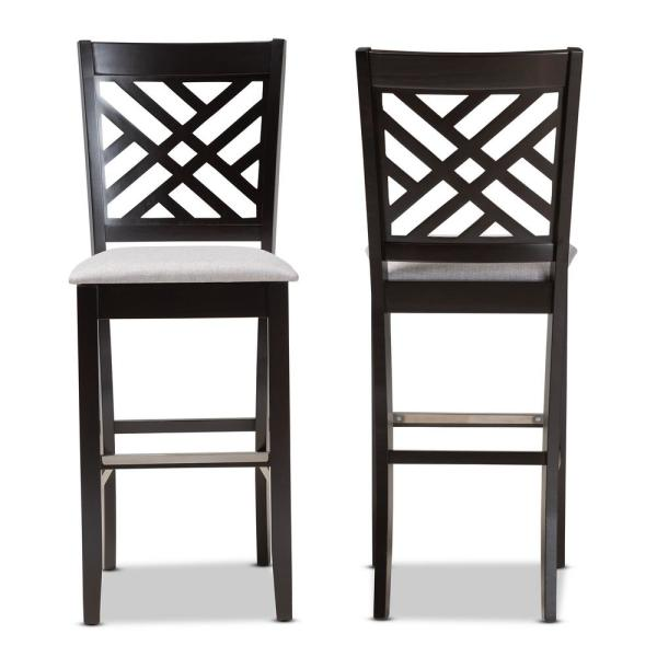28.3 in. Jason Grey and Espresso Brown Bar Stool (Set of 2)