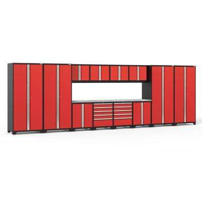 Pro 3.0 85.25 in. H x 256 in. W x 24 in. D 18-Gauge Welded Steel Garage Cabinet Set in Red (14-Piece)