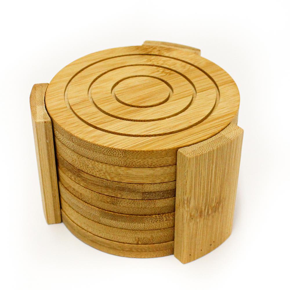 Berghoff Bamboo Coaster Set Set Of 7 2211839 The Home Depot