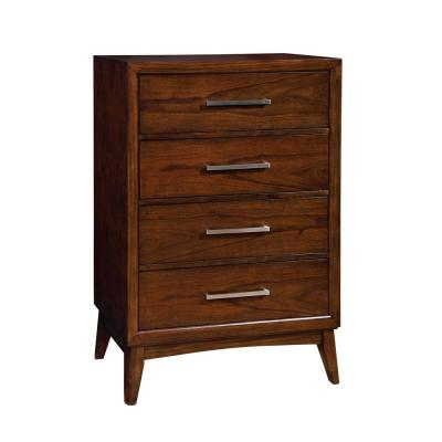 Snyder 4 Drawer Transitional Style Chest in Brown Cherry Finish