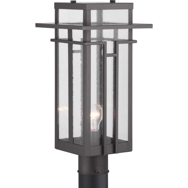 Boxwood Collection 1-Light Outdoor Antique Bronze Post Light