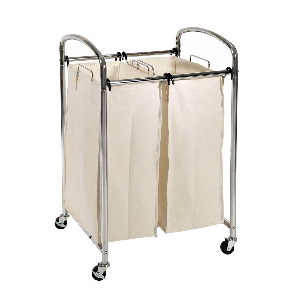 2-Bag Laundry Sorter Cart in Chrome