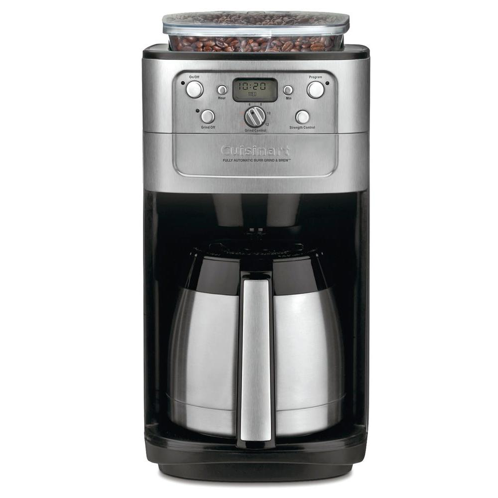 Cuisinart Grind and Brew 12-Cup Brushed Chrome Coffee Maker with Built-In Grinder