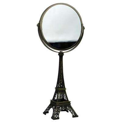 Antique French Paris Eiffel Towel Double Sided 3.42 in x 14.25 in x 6.57 in Cosmetic Mirror in Bronze