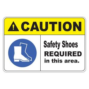 Click here to buy  Rectangular Plastic Safety Shoes Required Safety Sign.