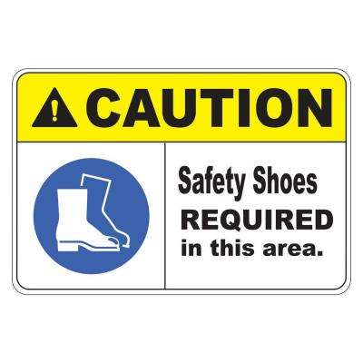 Rectangular Plastic Safety Shoes Required Safety Sign