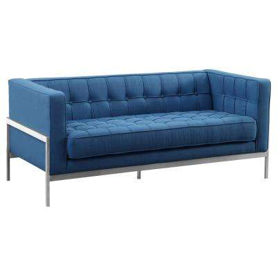Armen Living Brushed Stainless Steel Contemporary Loveseat and Blue Fabric