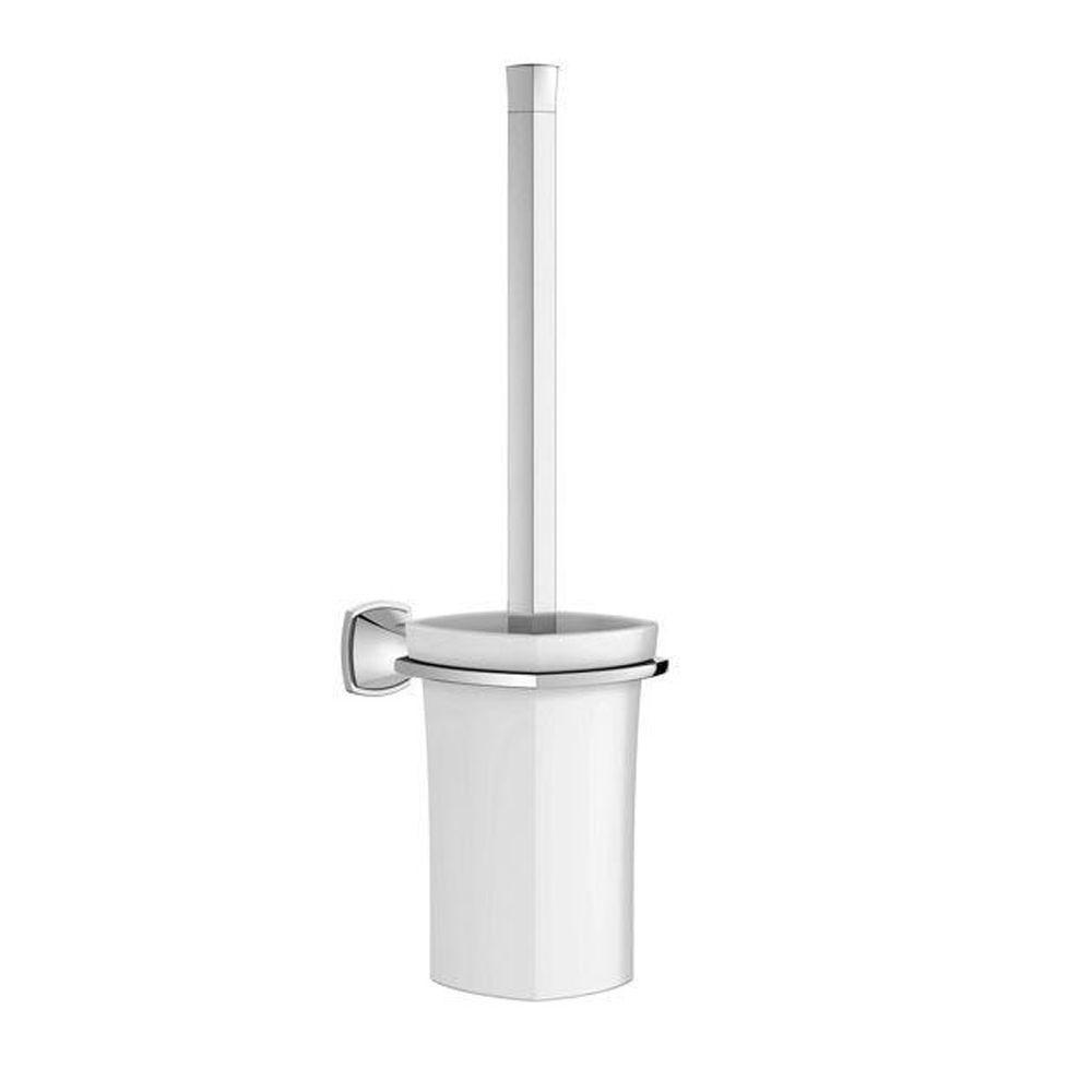 Grandera Wall-Mount Ceramic Toilet Brush with Holder in StarLight Chrome