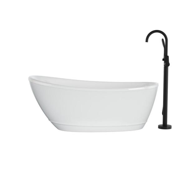 Jacuzzi Johanna 59 In X 30 In Acrylic Flatbottom Freestanding Soaking Bathtub In White With Matte Black Tub Filler Jom5930buxxxxg The Home Depot