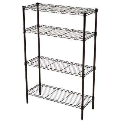 36 in. W x 54 in. H x 14 in. D 4-Tier Antique Bronze Wire Shelf