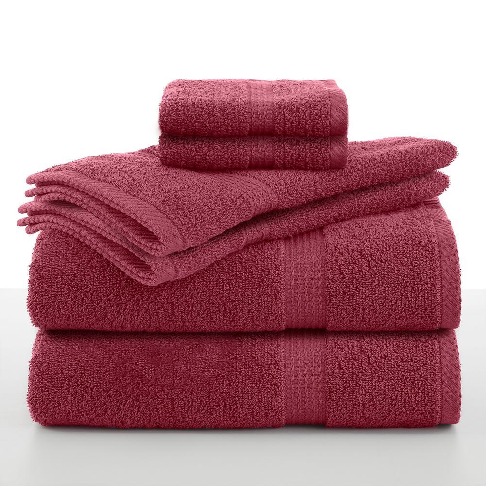 Red Towels Bathroom: Utica Essentials 6-Piece Cotton Towel Set In Soft Red