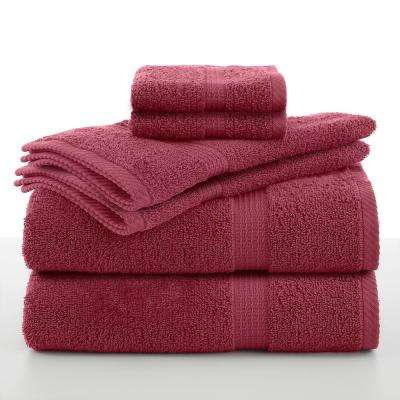 Essentials 6-Piece Cotton Towel Set in Soft Red