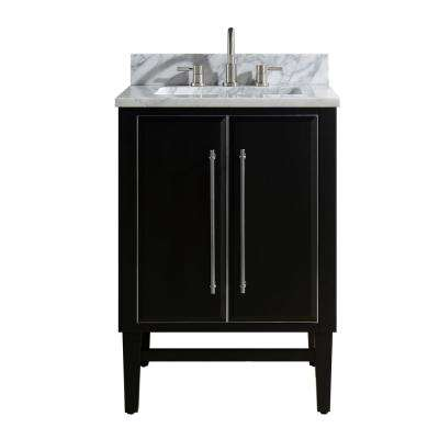 Mason 25 in. W x 22 in. D Bath Vanity in Black with Silver Trim with Marble Vanity Top in Carrara White with White Basin