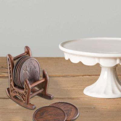 5 in. Brown Handmade Wooden Coasters with Rocking Chair Holder (Set of 6)