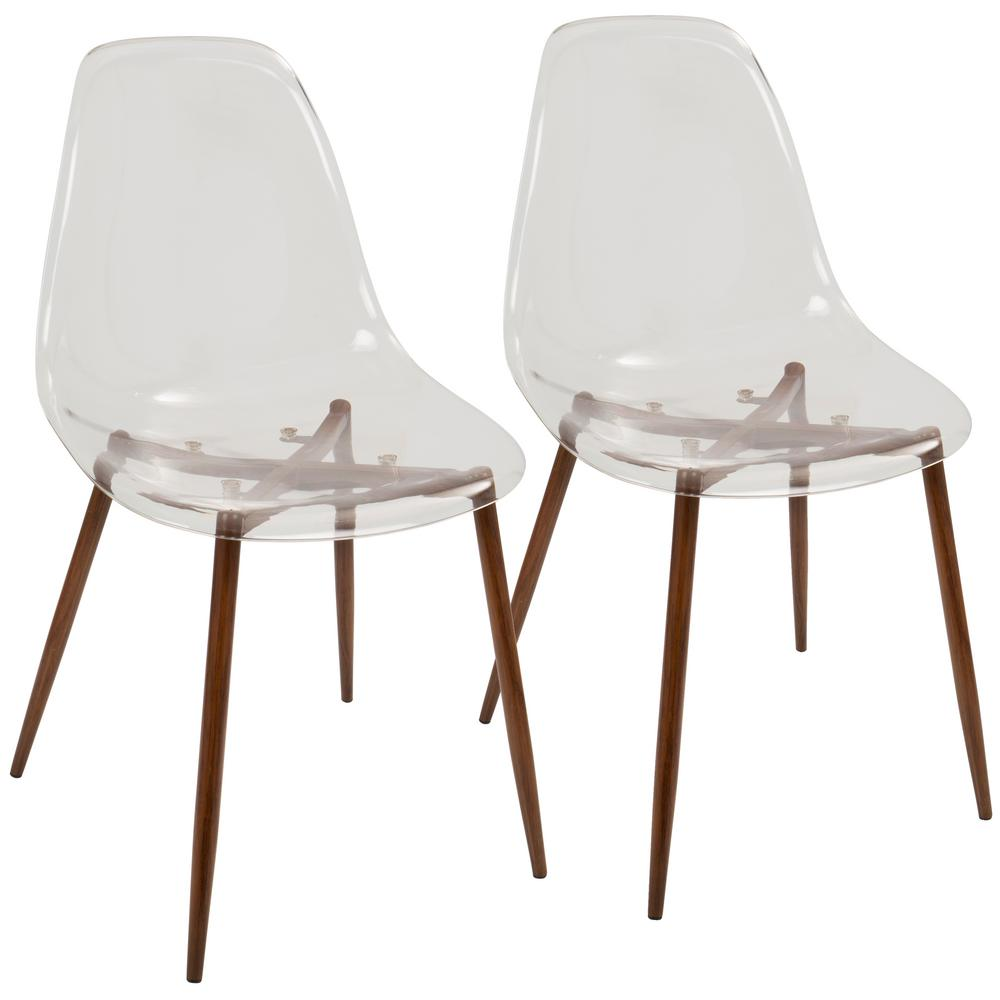 Superbe Lumisource Clara Mid Century Clear Acrylic And Walnut Modern Dining Chair  (Set Of 2