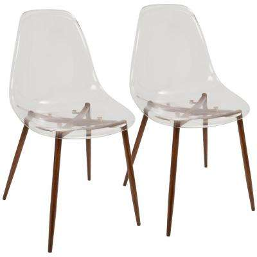 Clara Mid-Century Clear Acrylic and Walnut Modern Dining Chair (Set of 2)