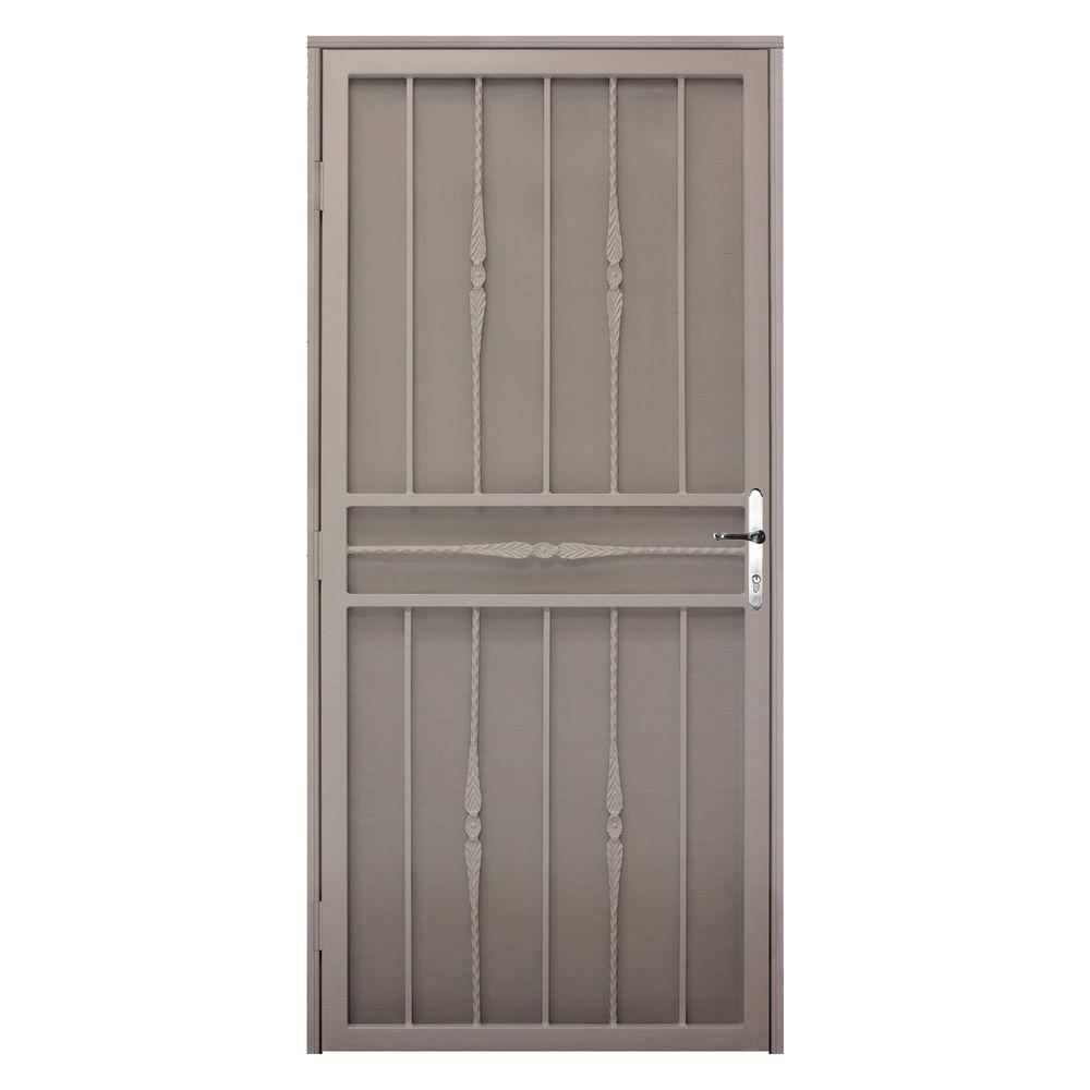 Unique Home Designs 36 in. x 80 in. Cottage Rose Tan Right-Hand Recessed Mount  Door with Expanded Metal Screen and Nickel -DISCONTINUED