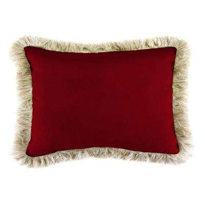 Sunbrella 19 in. x 12 in. Canvas Henna Lumbar Outdoor Throw Pillow with Canvas Fringe
