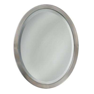 23 in. W x 29 in. H Metal Framed Single Oval Mirror in Brushed Nickel