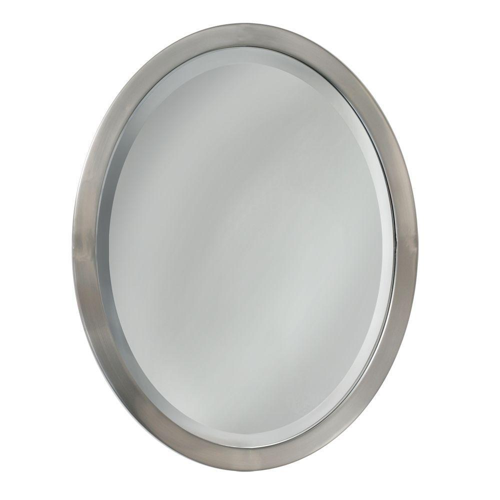 23 in. W x 29 in. H Framed Oval Beveled Edge Bathroom Vanity Mirror in Brushed nickel